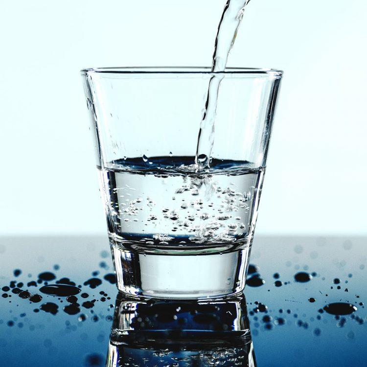 A glass of water macro shot